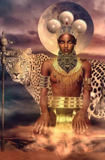 The Supreme Being sitted above the skies, holy and adorned by a tiger and the moon