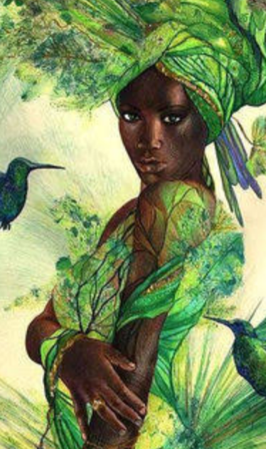 A woman dressed in green and birds appreciate her.