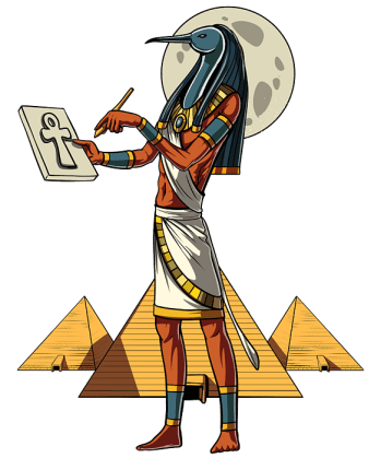 A 2-d illustration of Thoth, the bird-headed god inscribing an Egyptian symbol on a stone tablet in front of golden pyramids and a moon.
