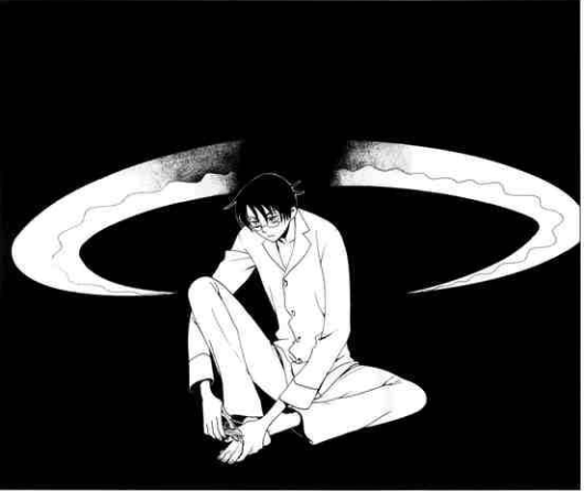 Manga panel of boy cutting his toenail. Behind him is a sinister pair of blades encasing him from the back without his knowledge.