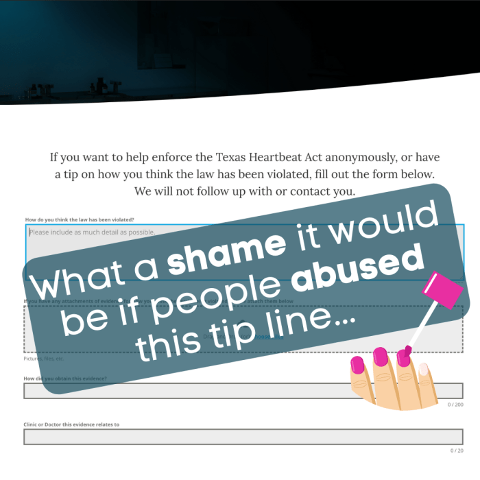 The webpage of an abortion anonymous tips page overlayed with the text 'what a shame it would be if people abused this tip line' and an illustration of painted pink fingernails