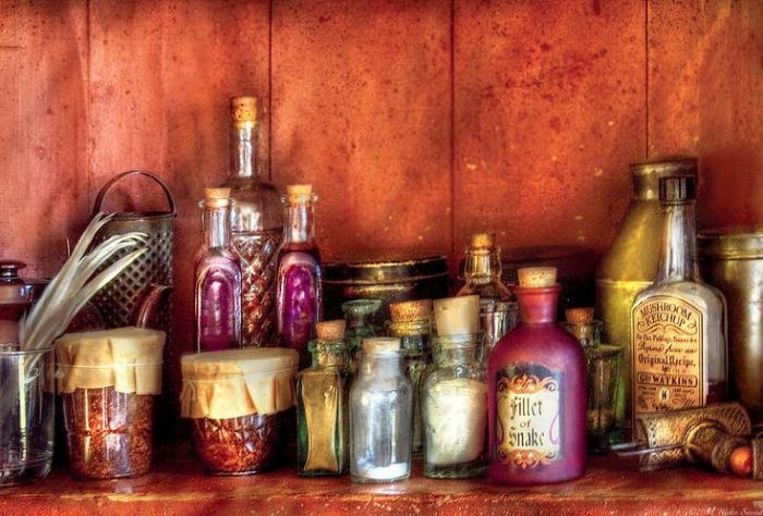 Potion bottles and herbs