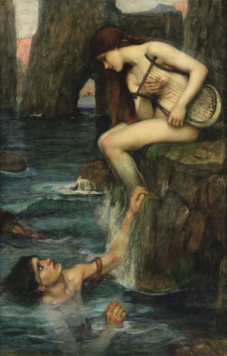 An illustration of a siren luring a man to his death.