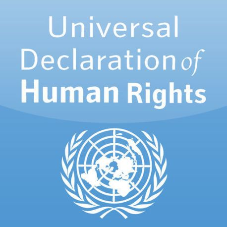 A blue square with white text reading 'Universal Declaration of Human Rights' with the United Nations crest symbol below
