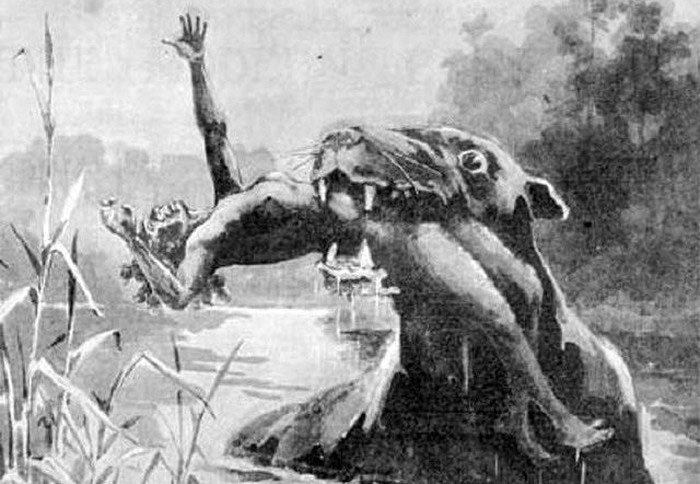 Monster eating a human in a river.