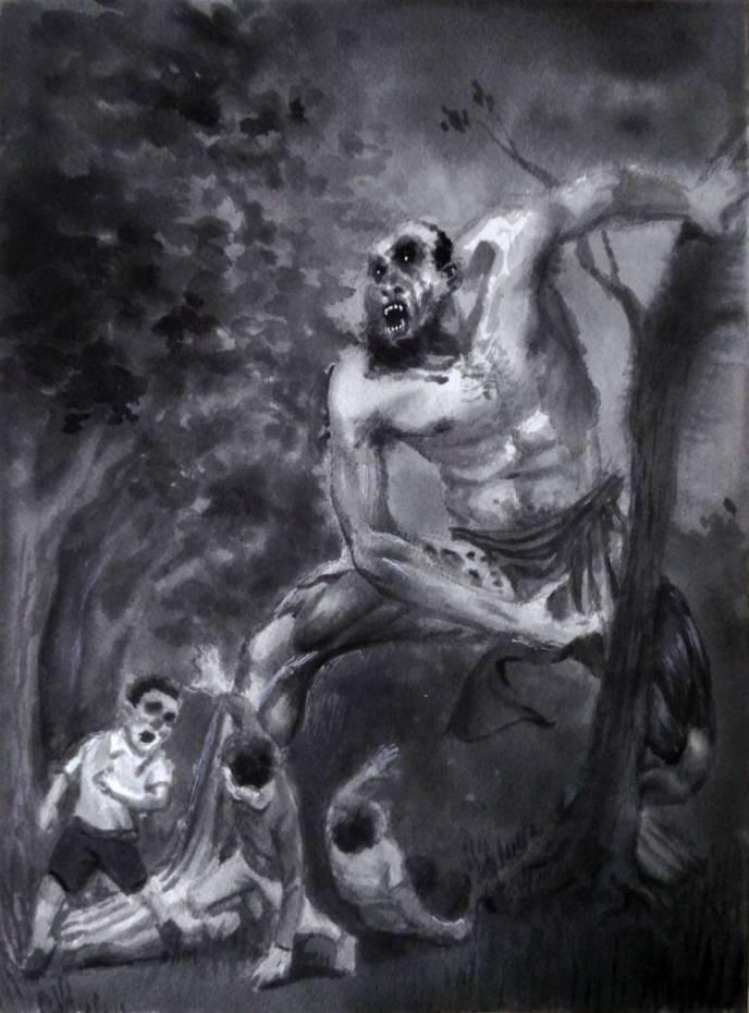 Drawing of monster chasing children