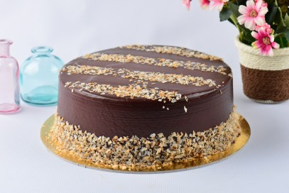 A round chocolate cake