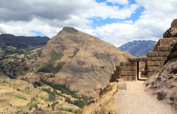 Inca ruins at Pisac town in the Sacred Valley, Peru