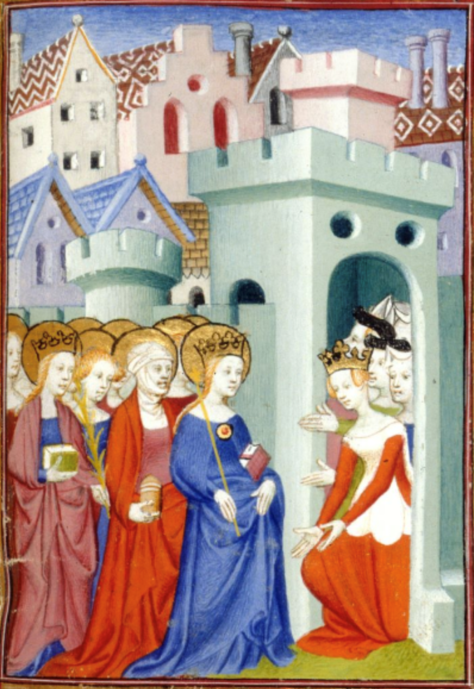 A Medieval illustration of a group of women visiting another group of women, who are located in a castle. This scene is taken from Christine de Pizan's dream vision, The Book of the City of Ladies.