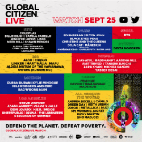 Global Citizen Live Performers Line-up