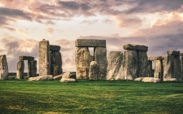 Stonehenge stones surrounded by clouds