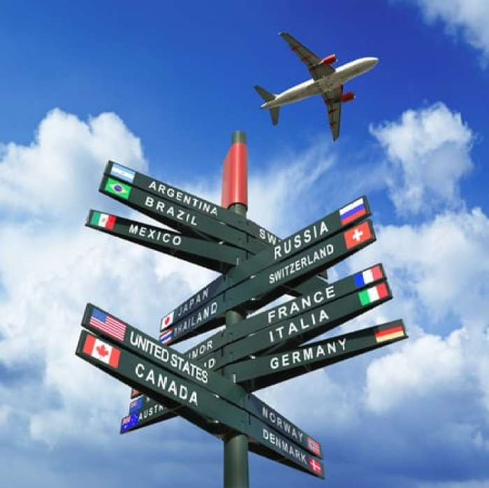 Signs with different travel desinations.