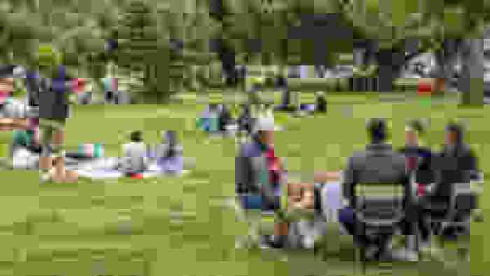 Clusters of people gather in small circles in a park