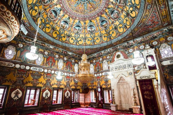 Colourful interior of the Painted Mosque in Tetoco, North Macedonia
