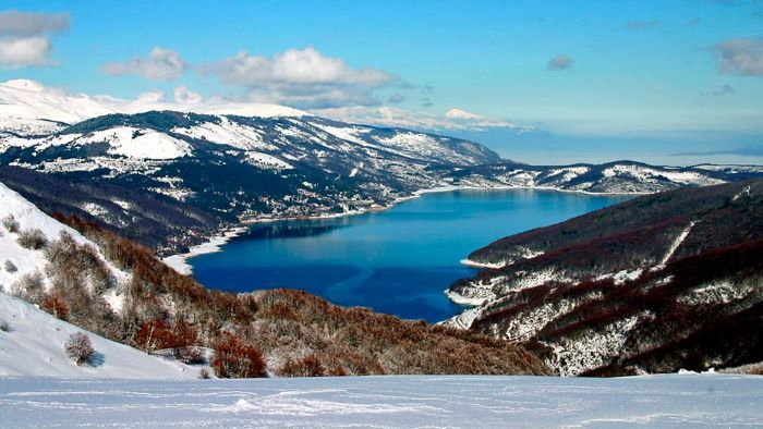 Mavrovo lake in the snow, North Macedonia