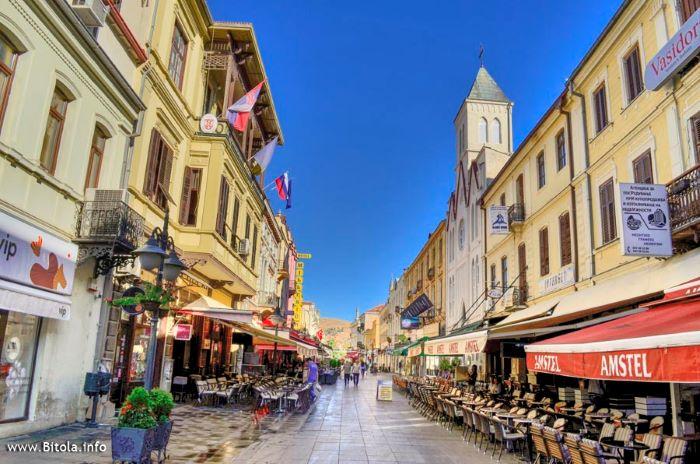 Lovely pedestrian street Shirok sokak in Bitola