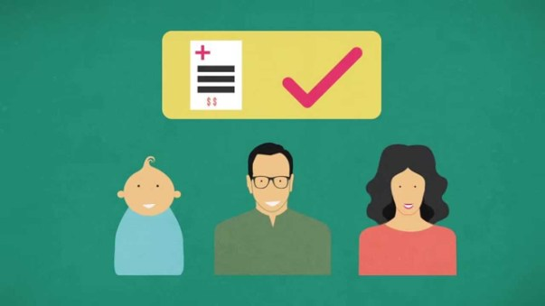 a cartoon-like image of a new born baby a father and a mother aligned from left to right on a green background, above their heads there is a health insurance paper and a big tick