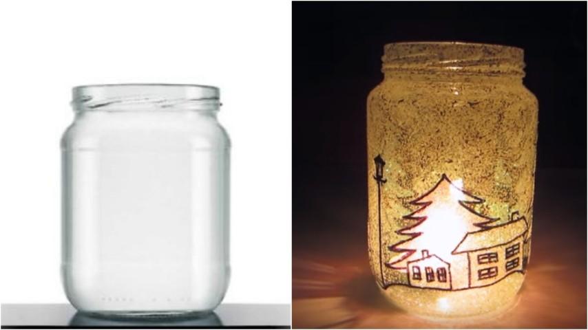 Decorazioni di natale fai da te con barattoli e vasi di vetro: Come Realizzare Una Lanterna Di Natale Con Vecchi Barattoli Di Vetro