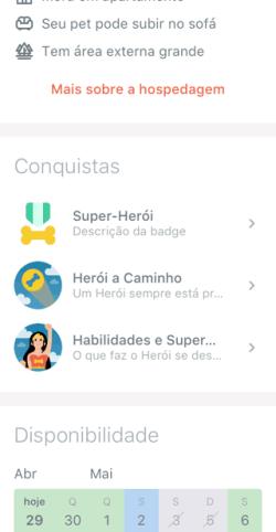 Conquistas visíveis no aplicativo DogHero