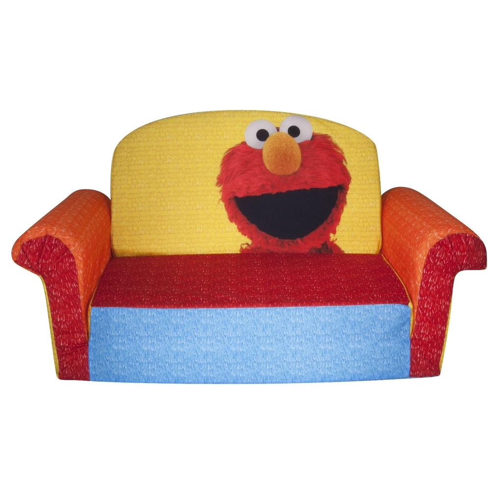 sesame street flip open sofa with slumber bag bed convertible spin master marshmallow furniture elmo