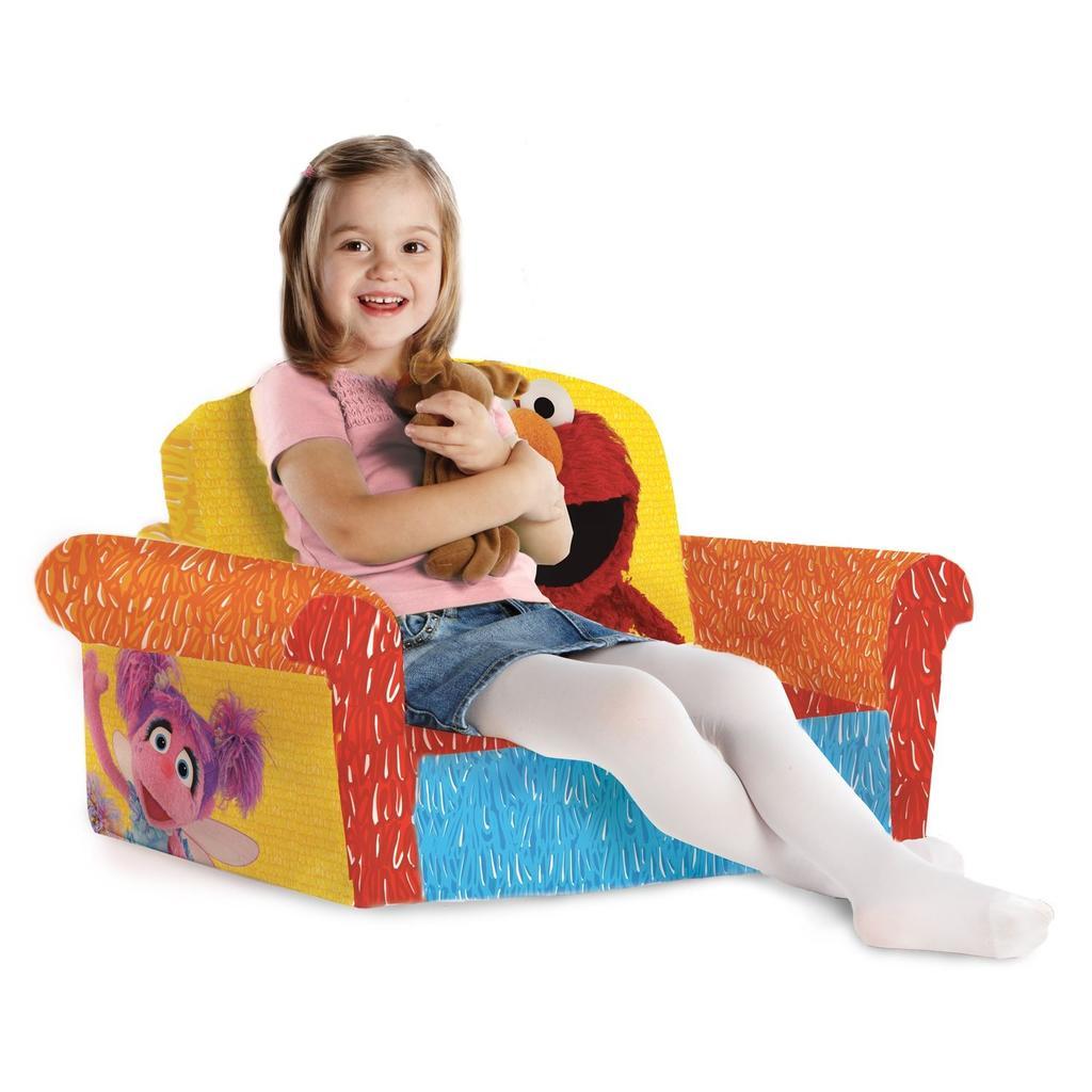 sesame street flip open sofa with slumber bag restoration hardware provence spin master marshmallow furniture elmo
