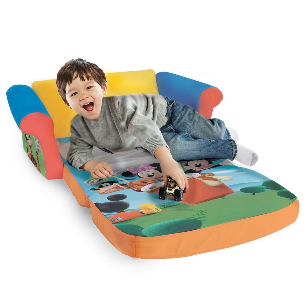 mickey mouse clubhouse flip open sofa with slumber bed new diwan set spin master marshmallow furniture