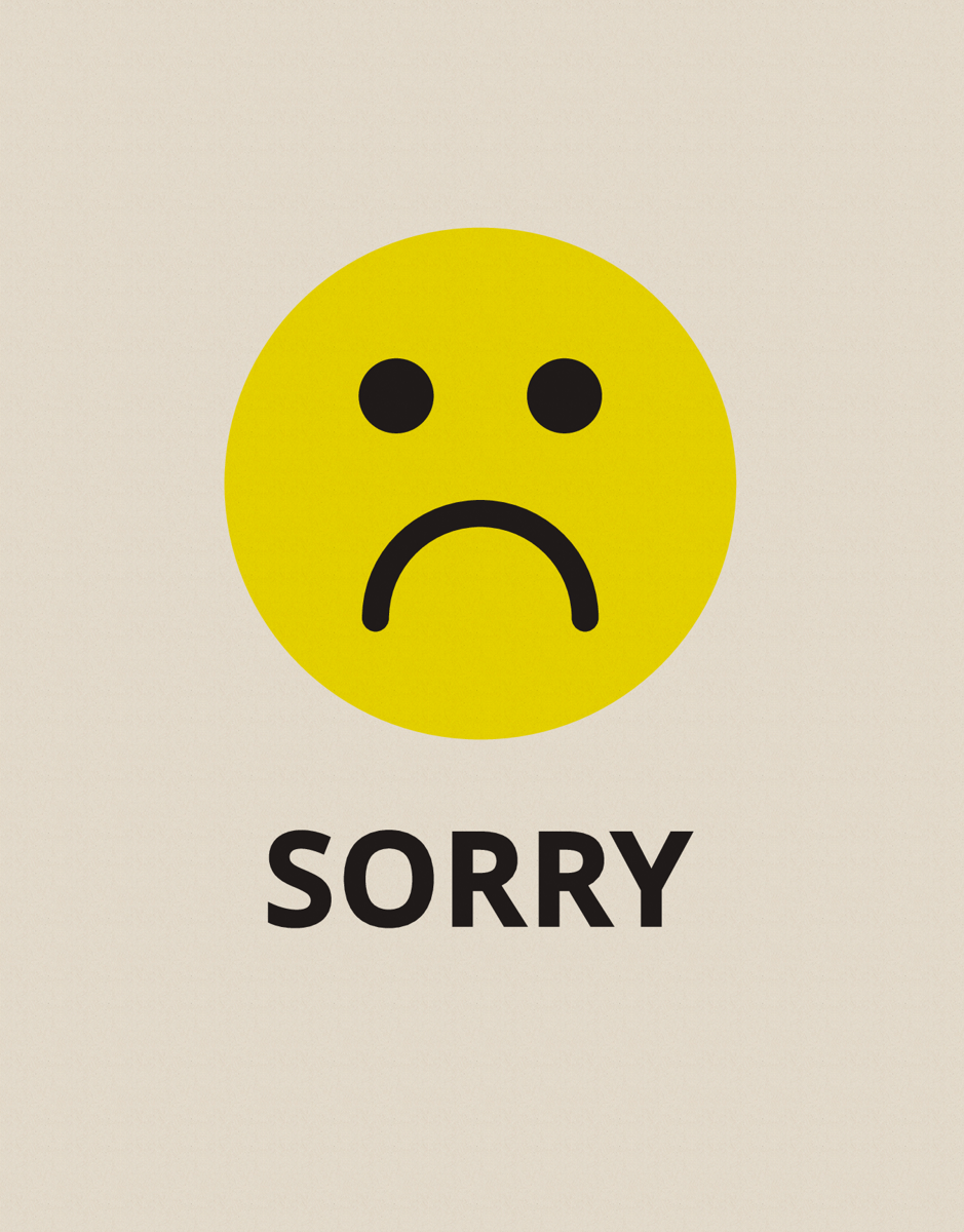sorry sad face by