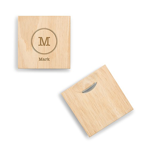 natural wood coaster with