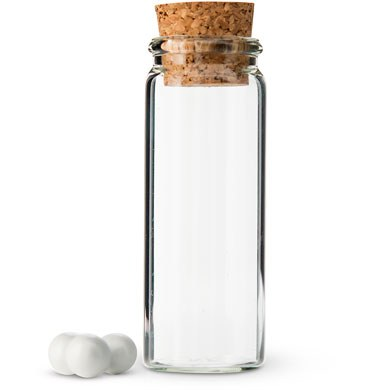 small glass bottle with