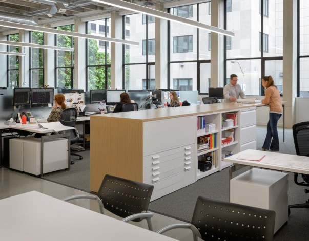 A variety of work areas in MG2's Seattle office provide choice and flexibility (Photo credit: Aaron Leitz)