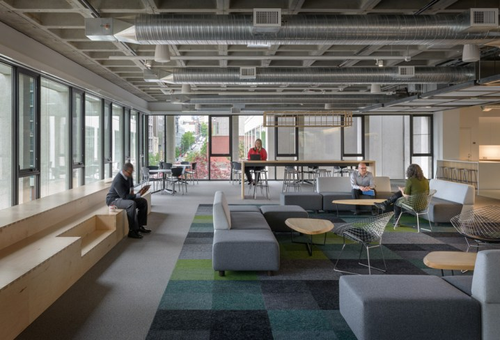 "The multi-functional 3,000 SF ""Town Square"" space in MG2's office (Photo credit: Aaron Leitz)"
