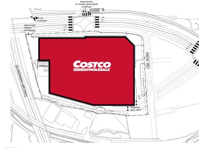 Costco warehouse site plan - Gongse, South Korea. (Site Area: 6 Acres / Sales Floor: 148,000 SF)
