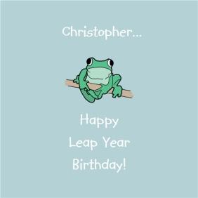 cartoon frog happy leap year birthday card