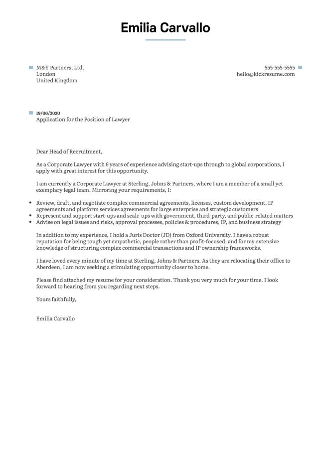 Lawyer Cover Letter Sample  Kickresume