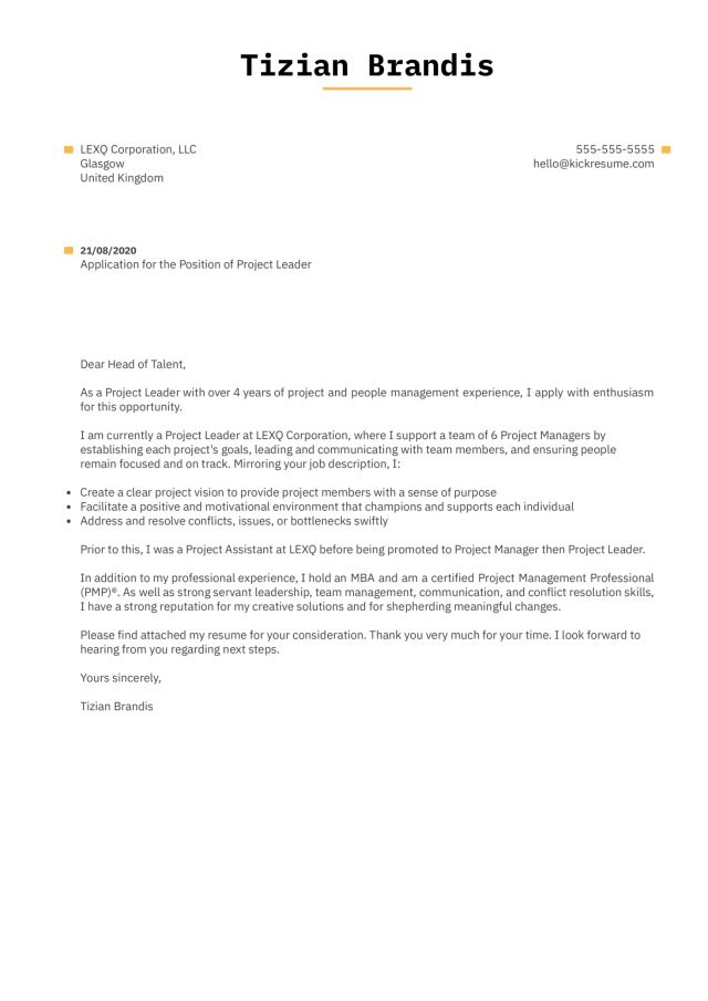 Project Leader Cover Letter Example  Kickresume