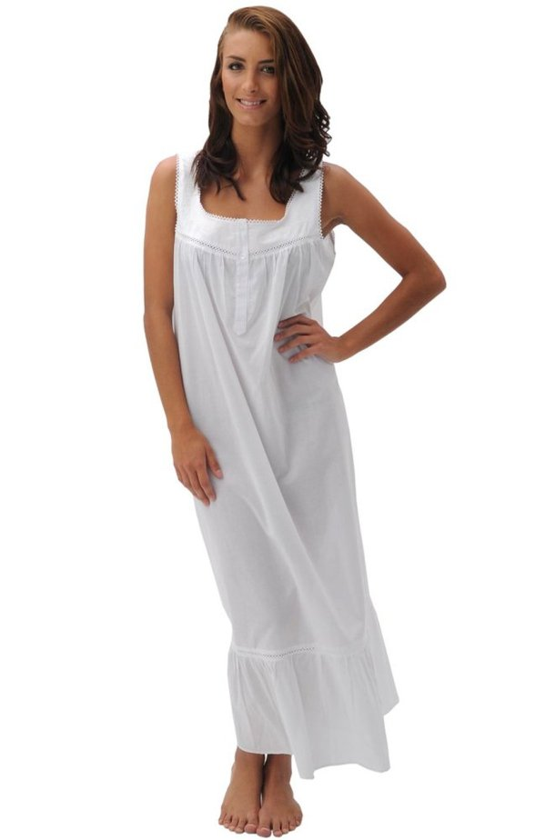 Del Rossa Women' Patricia 100 Cotton Long Victorian Sleeveless Nightgown Blingby