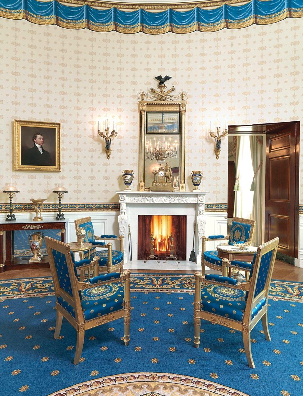 White House Blue Room : white, house, Monroe's, Portrait, White, House, Historical, Association