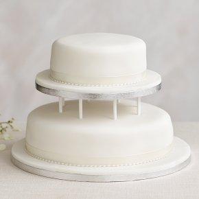 Soft Iced 2 Tier White Wedding Cake With Dowling Madeira Base Tier Chocolate Sponge