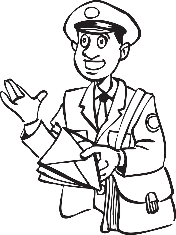 Illustration Of A Postman With Letter And Bag. Royalty