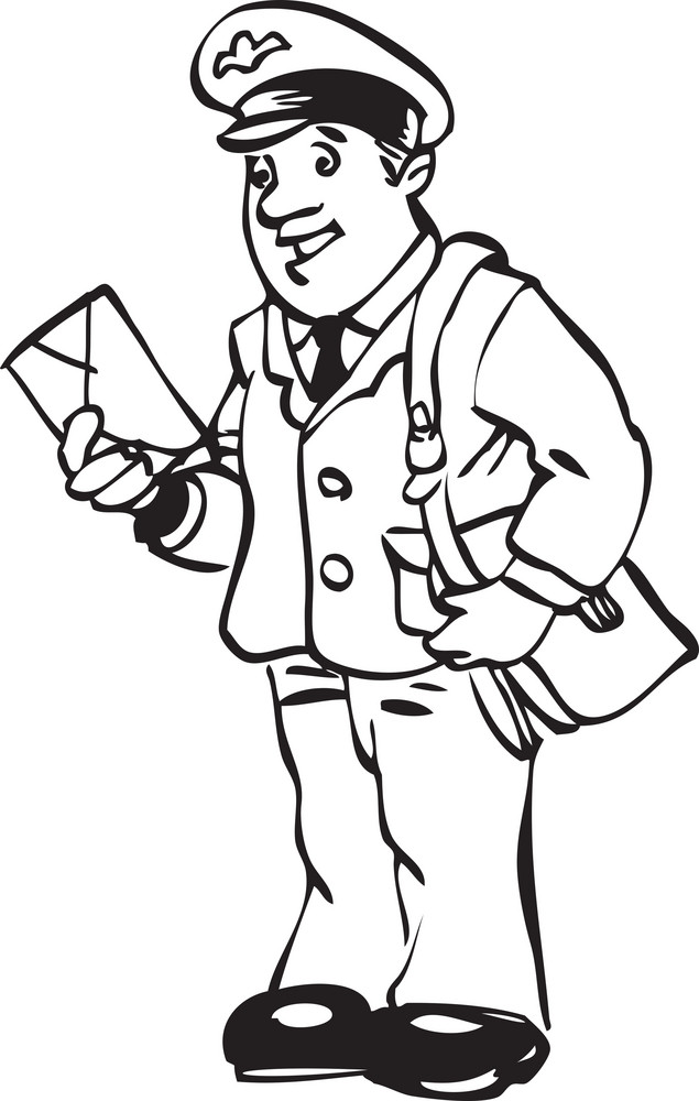 Illustration Of A Postman. Royalty-Free Stock Image