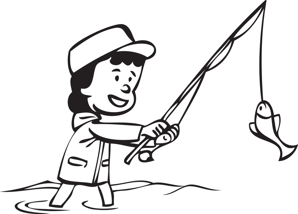 Illustration Of A Girl With Fishing Pole And Fish. Royalty