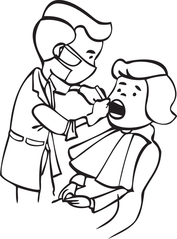 Illustration Of A Dentist Checking His Patient. Royalty