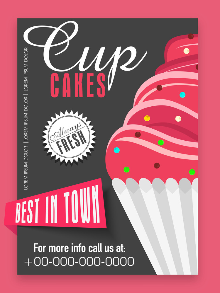 Stylish Menu Card Design For Sweet Cup Cakes Shop Or Bakery Royalty