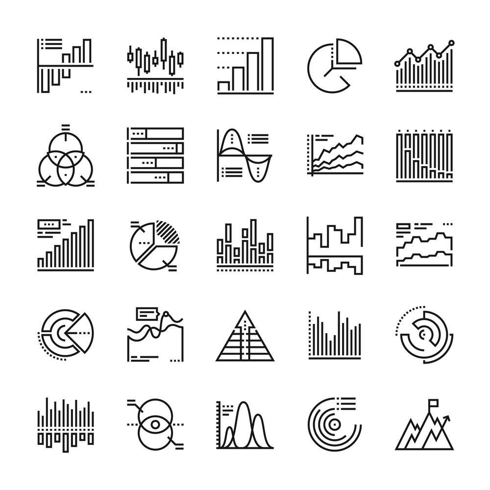 Abstract vector collection of line charts and diagrams