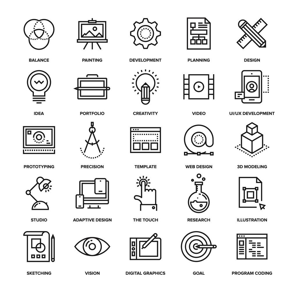 Abstract vector collection of line design and development