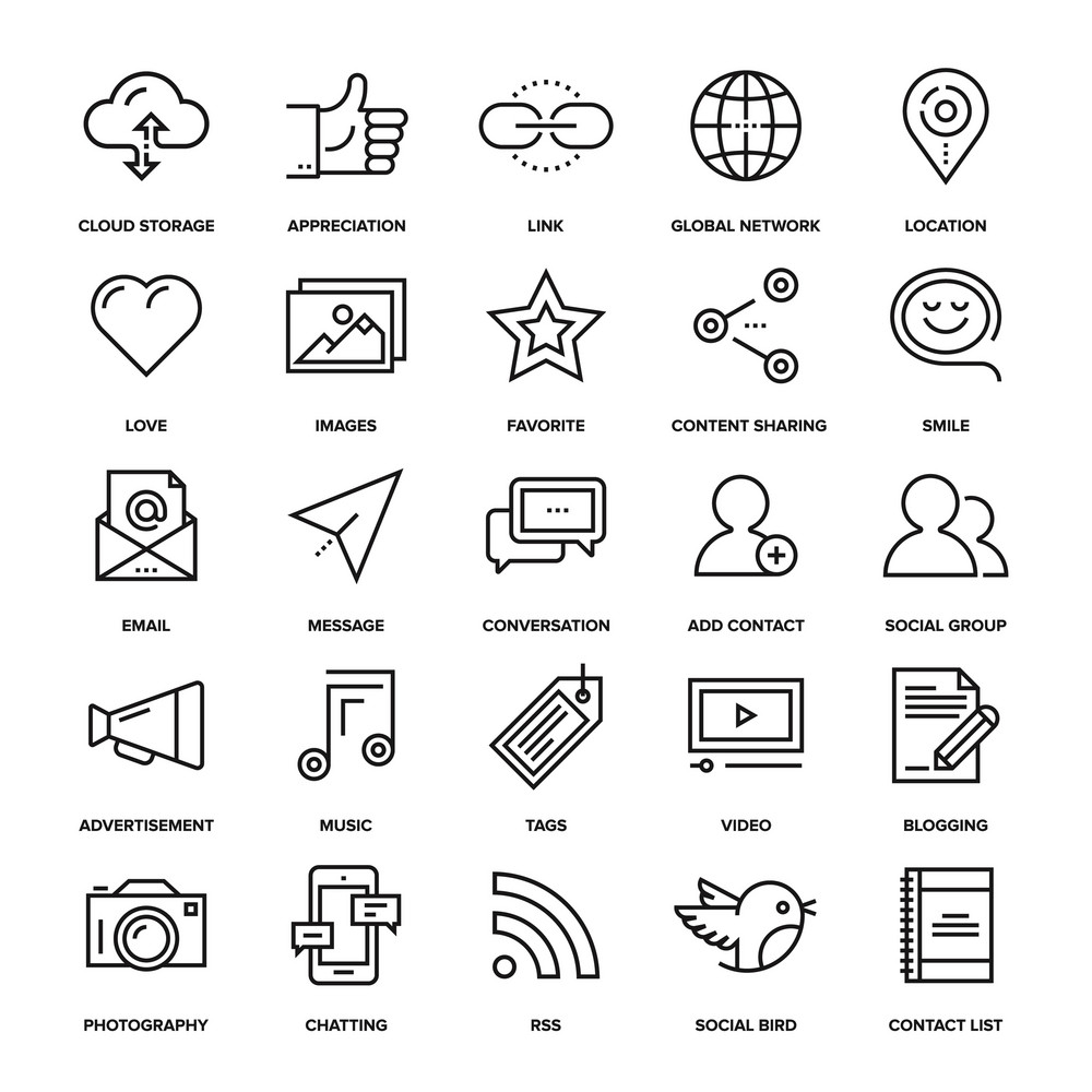 Abstract vector collection of line social media icons