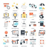 Vector set of business and finance flat web icons ...