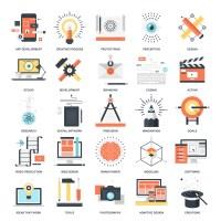 Vector set of creative process flat web icons ...