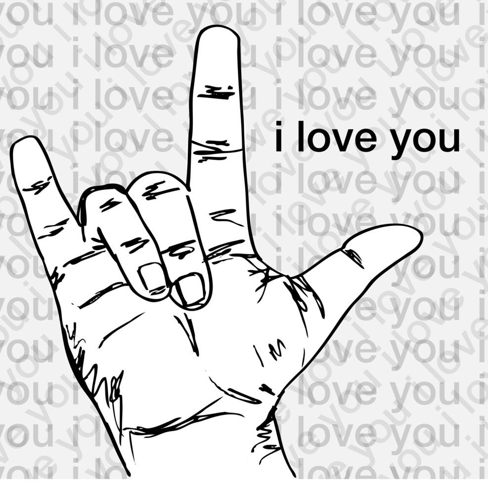 Download I Love You Hand Symbolic Gestures. Vector Illustration ...