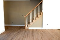 New home construction interior room with unfinished wood ...